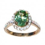 Two-tone Gold Merelani Mint Garnet and Diamond Ring - Custom Made By Yaffie™