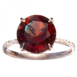 Oregon Copper-Bearing Sunstone & Diamond Gold Ring - Custom Made By Yaffie™