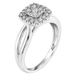 White Gold 1/ 4ct TDW Princess Diamond Square Halo Engagement Ring - Custom Made By Yaffie™