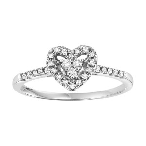 White Gold 1/6ct TDW Heart Engagement Ring - Custom Made By Yaffie™