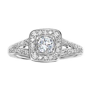 White Gold 3/ 4ct TDW Diamond Halo Engagement Ring - Custom Made By Yaffie™