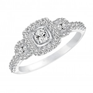 White Gold 5/ 8ct TDW Diamond 3-stone Halo Engagement Ring - Custom Made By Yaffie™