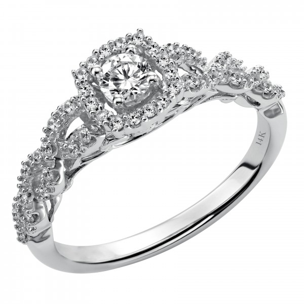 White Gold 3/ 8ct TDW Diamond Halo Engagement Ring - Custom Made By Yaffie™