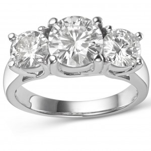 Charles & Colvard Gold 3 9/10ct DEW Round Forever Brilliant Moissanite 3-stone Ring - Custom Made By Yaffie™