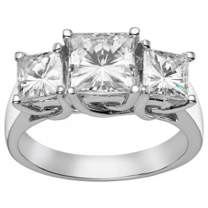 Charles & Colvard Gold 3.30 TGW Square Brilliant Classic Moissanite 3-Stone Ring - Custom Made By Yaffie™