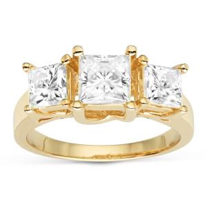 Charles & Colvard Gold 2.20 TGW Square Forever Brilliant Moissanite 3-Stone Ring - Custom Made By Yaffie™