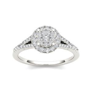 Gold 1/2ct TDW Diamond Double Halo Milgrain Engagement Ring - Custom Made By Yaffie™