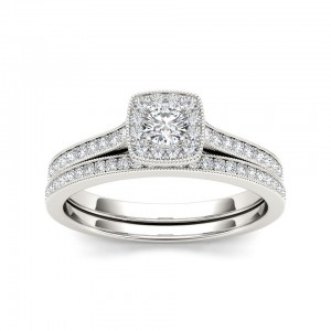 Gold 1/2ct TDW Diamond Solitaire Bridal Set - Custom Made By Yaffie™