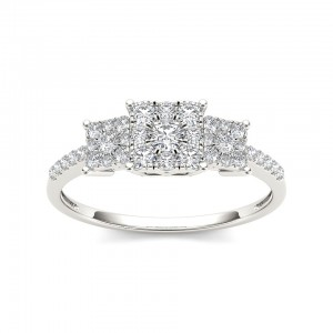 Gold 1/2ct TDW Diamond Three Cluster Engagement Ring - Custom Made By Yaffie™