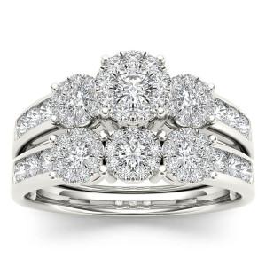 Gold 1ct TDW Diamond Bridal Ring Set - Custom Made By Yaffie™