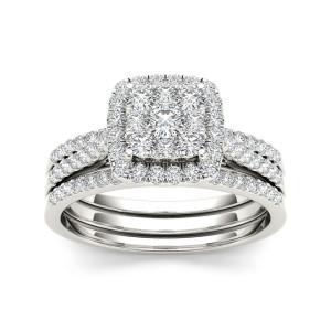 Gold 1ct TDW Diamond Halo Bridal Ring Set - Custom Made By Yaffie™