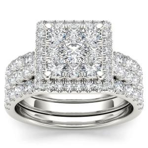 Gold 2ct TDW Diamond Halo Bridal Ring Set - Custom Made By Yaffie™