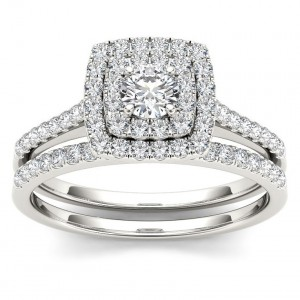 Gold 3/4ct TDW Diamond Double Halo Bridal Ring Set - Custom Made By Yaffie™