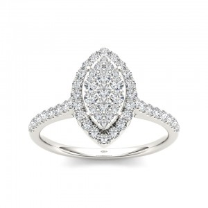 Gold 3/4ct TDW Diamond Marquise Engagement Ring - Custom Made By Yaffie™
