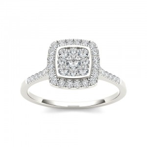 Gold TDW 1/2ct Diamond Halo Engagement Ring - Custom Made By Yaffie™