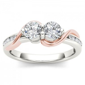 Pink Two-Tone White Gold 3/4ct TDW Two-Stone Diamond Engagement Ring - Custom Made By Yaffie™