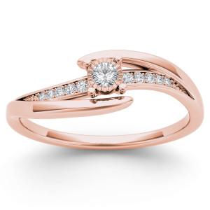 Rose Gold 1/10ct TDW Diamond Criss-Cross Engagement Ring - Custom Made By Yaffie™