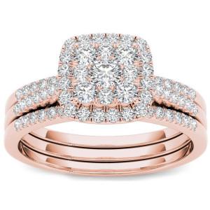 Rose Gold 1/2 ct TDW Diamond Halo Engagement Ring Set - Custom Made By Yaffie™