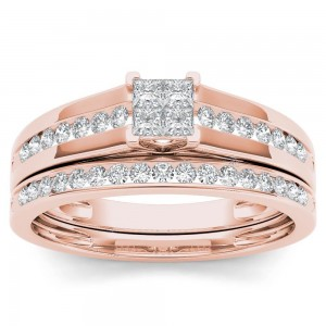 Rose Gold 1/2ct TDW Diamond Classic Engagement Ring with One Band - Custom Made By Yaffie™