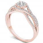 Rose Gold 1/2ct TDW Diamond Halo Engagement Ring - Custom Made By Yaffie™