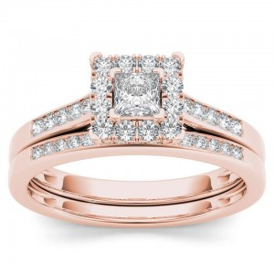 Rose Gold 1/2ct TDW Diamond Halo Engagement Ring Set with One Band - Custom Made By Yaffie™