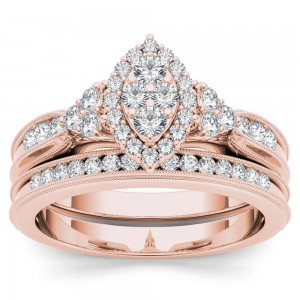 Rose Gold 1/2ct TDW Diamond Marquise-Framed Halo Engagement Ring Set - Custom Made By Yaffie™