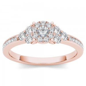 Rose Gold 1/2ct TDW Diamond Three-Stone Look Halo Engagement Ring - Custom Made By Yaffie™
