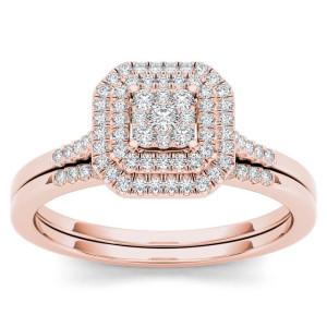 Rose Gold 1/4ct TDW Diamond Cluster Halo Bridal Set - Custom Made By Yaffie™