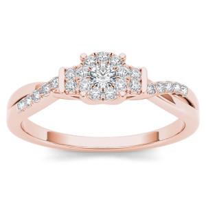 Rose Gold 1/4ct TDW Diamond Three-Stone look Engagement Ring - Custom Made By Yaffie™
