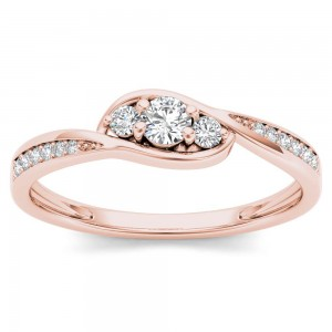 Rose Gold 1/5ct TDW Diamond Bypass Cluster Engagement Ring - Custom Made By Yaffie™