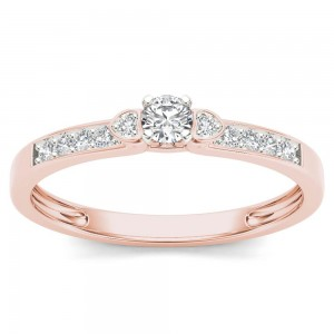 Rose Gold 1/5ct TDW Diamond Classic Engagement Ring - Custom Made By Yaffie™