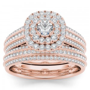 Rose Gold 1ct TDW Diamond Double Engagement Ring with One Band - Custom Made By Yaffie™