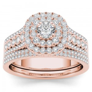 Rose Gold 1ct TDW Diamond Double Halo Engagement Ring Set with One Band - Custom Made By Yaffie™