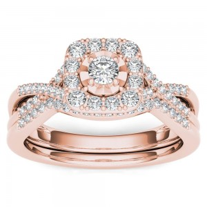 Rose Gold 2/5ct TDW Diamond Halo Engagement Ring Set with One Band - Custom Made By Yaffie™