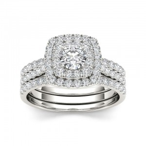 White Gold 1 1/2 ct TDW Diamond Halo Engagement Ring Set - Custom Made By Yaffie™