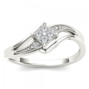 White Gold 1/10ct TDW Diamond Bypass Engagement Ring - Custom Made By Yaffie™