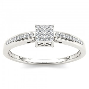 White Gold 1/10ct TDW Diamond Cluster Engagement Ring - Custom Made By Yaffie™