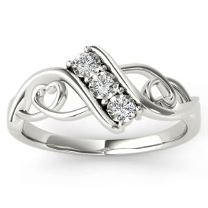 White Gold 1/10ct TDW Diamond Three-Stone Anniversary Ring - Custom Made By Yaffie™
