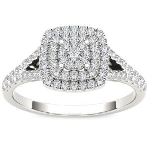 White Gold 1/2ct TDW Diamond Cushion Shape Double Halo Engagement Ring - Custom Made By Yaffie™