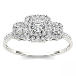 White Gold 1/2ct TDW Diamond Double Halo Engagement Ring - Custom Made By Yaffie™