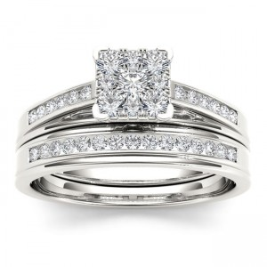 White Gold 1/2ct TDW Diamond Square Shape Bridal Set - Custom Made By Yaffie™