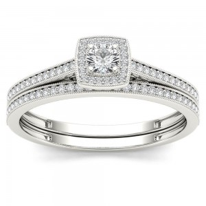 White Gold 1/3ct TDW Diamond Halo Engagement Ring with One Band - Custom Made By Yaffie™
