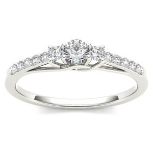 White Gold 1/3ct TDW Diamond Three-Stone Anniversary Ring - Custom Made By Yaffie™