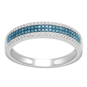 White Gold 1/4ct TDW Blue and White Diamond Wedding Band - Custom Made By Yaffie™