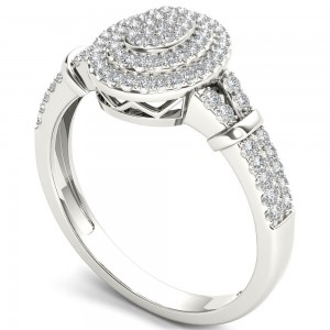 White Gold 1/4ct TDW Diamond Cluster Double Halo Engagement Ring - Custom Made By Yaffie™