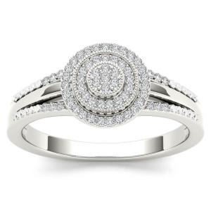 White Gold 1/6ct TDW Diamond Halo Engagement Ring - Custom Made By Yaffie™
