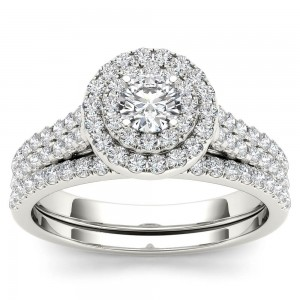 White Gold 1ct TDW Diamond Double Halo Bridal Set - Custom Made By Yaffie™