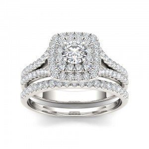 White Gold 1ct TDW Diamond Double Halo Engagement Ring - Custom Made By Yaffie™