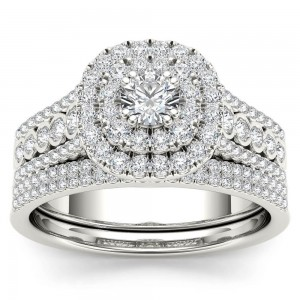 White Gold 1ct TDW Diamond Double Halo Engagement Ring Set with One Band - Custom Made By Yaffie™