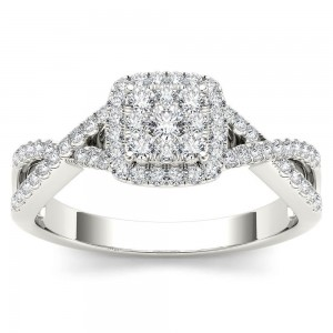 White Gold 2/5ct TDW Diamond Halo Split Shank Engagement Ring - Custom Made By Yaffie™
